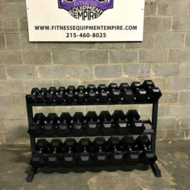 BRAND NEW EMPIRE Rubber Hex Dumbbell Sets – Click for Options