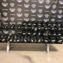Brand New Empire 12 Sided 5-100 lb. Commercial Rubber Dumbbell Set w/Matching Hammer Strength Racks