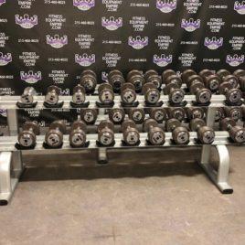 BRAND NEW EMPIRE 5-100 lb. Iron Prostyle Dumbbell Set w/New Matching Racks