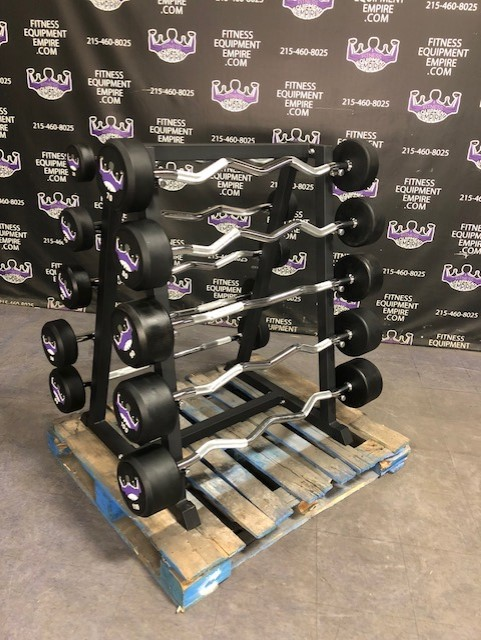Buy BRAND NEW Empire Rubber Fixed EZ Curl Bar Set 20-110 lbs. in 10's w/Rack Online | Fitness ...