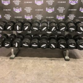 105-150 lbs. Empire 12 Sided Brand New Rubber Covered Dumbbell Set w/Life Fitness Signature Rack