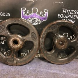 York USA Vintage 100 lb. Iron Grip Plate Pair