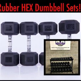 BRAND NEW EMPIRE Rubber Hex Dumbbell Sets & Pairs – Click for Options